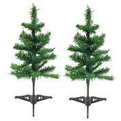 2 Artificial Christmas Tree Holiday Tabletop Desk Countertop Home Office Reception Desk School Shop Store Kids Room, Dorm - With Detachable Base Total Length 46cm