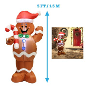 1.5m Self-Inflatable Gingerbread Man with Candy Canes Perfect for Waving Blow Up Yard Decoration, Indoor Outdoor Yard Garden Christmas Decoration and Christmas Party Favour Decoration by Joiedomi