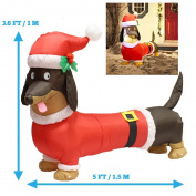 1.5m Long Wiener Dog Self-Inflatable with Suit Perfect for Dachshund Blow Up Yard Decoration, Indoor Outdoor Yard Garden Christmas Decoration and Christmas Party Favour Decoration by Joiedomi