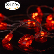 AOSTAR Valentine Lights 20 Heart Shaped String Lights (2.2m Red), Battery Operated Fairy Lights for Valentine Decorations