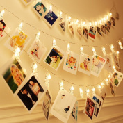 KEKH 40 LED Photo Clips String Lights, Christmas Indoor Fairy String Lights for Hanging Photos Pictures Cards and Memos, Ideal gift for Dorms Bedroom Decoration