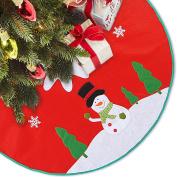 LimBridge 120cm Rustic Red Felt Christmas Tree Skirt with Stitched Snowman Snowflake Xmas Holiday Decoration