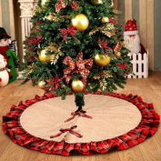 OurWarm Linen Burlap Christmas Tree Skirt Red Black Plaid Ruffle Edge Border Large 120cm Round Indoor Outdoor Mat XMAS Party Holiday Decorations
