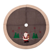 SANNO 110cm Fantastic Christmas Tree Skirt with Woodland Collection, Santa and Red Embroidered Snowflakes Characters,Grey with Begie Edge