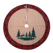 SANNO 110cm Christmas Tree Skirt with Reindeer In the Woodland Collection Decorations, Tartan Border