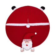 SANNO 110cm Santa Christmas Tree Skirt Round Holiday Decorations Skirts, Red Non-woven