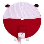 SANNO 110cm Snowman Christmas Tree Skirt Round Holiday Decorations Skirts, Red/WhiteNonwovens
