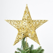 Christmas Tree Topper, 20cm , Wire Gold Tree Star for Chirstmas Decoration by Sricam