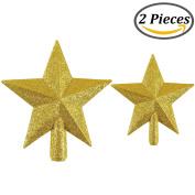 Resinta Glittered Christmas Tree Topper Star Topper for Christmas Tree Decoration, 2 Sizes