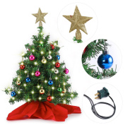 50cm Tabletop Mini Christmas Tree Set with Clear LED Lights, Star Treetop and Ornaments, Best DIY Christmas Decorations by Joiedomi