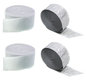 Silver Metallic Crepe Paper Colour Combinations (White + Silver), 90m Total, Made in USA
