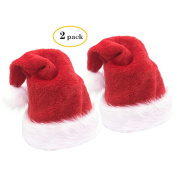 2pcs Christmas Santa Hat,Luxury Plush Christmas Hat Santa Claus Cap Xmas Hat for Adults(Wide:31cm ,Height:45cm ) by Alimitopia
