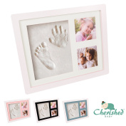 Cherished Baby Handprint and Footprint Photo Frame Clay Kit with 4 Colour Backing Cards – Customisable Newborn Hand & Feet Print Memorable Keepsake Gift for Boys and Girls Nursery Walls