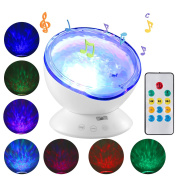 Ocean Wave Projector with Remote Control Night Light Sleep comfort Hypnosis Lamp with Built-in Music Player Multi-colour Decoration Lamp for Kids Adults Nursery Bedroom Living Room Party