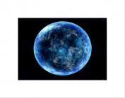 BLUE MOON SKY SPACE FANTASY BLACK ART PRINT PICTURE MOUNT B12X9169