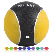 PROMIC Medicine Balls 1KG 2KG 3KG 4KG 5KG 6KG 7KG 8KG 9KG 10KG Solid Heavy Duty Rubber Slamming Weighted Ball Multiple Colours Strength Training Equipment Anti-burst Exercise Balls for Home and Gym