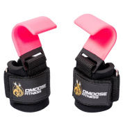 Weight Lifting Hooks Grip by DMoose Fitness (Pair) - 8 mm Thick Padded Neoprene, Double Stitching, Non-Slip Resistant Coating - Secure Your Grip and Reach Your Goals with Premium Workout Hook Gloves