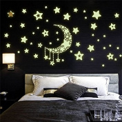 Hosaire 1 Set Night Fluorescent Wall Stickers Children's Room TV Wall Decoration Luminous Wallpaper Stickers- Moon Stars