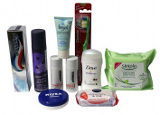Complete Mini Travel Plane Bundle - 10 Items - Toiletries for Hair Oral Facial Body Care