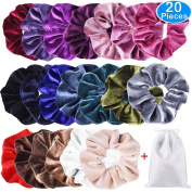 EAONE 20 Pack Velvet Hair Scrunchies Colourful Velvet Hair Ties Scrunchy Bobble Hair Bands, 20 Colours