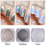 3 Bottle Nail Glitter Dust Unicorn Neon Holo Silver Sparkly Chrome Pigment Nail Art Sequins Fashion DIY Powder