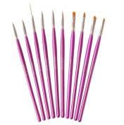 NAILFUN Set of 10 Metallic Pink Nail Art Brushes