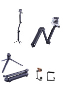 Foldable Multi-functional Pole/Monopod 3-Way Adjustable Selfie Stick for GoPro Hero 6/5/4/3Session,Action Cameras