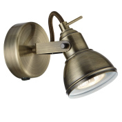 Retro /Industrial Design Antique Brass Single 1 way Wall Spot Light with Switch - LED Compatible