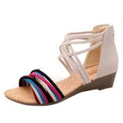 Women Sandals,Women Summer Sandals Round Peep Clip Toe Wedge Heel Sandals Boho Slippers Flip Flops Flat Sandals Beach Shoes Thong
