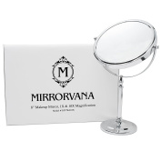 MIRRORVANA Large 20cm Vanity Makeup Mirror ~ Double-Sided 1X and 10X Magnifying Mirrors ~ Perfect for Bedroom or Bathroom Vanity