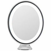 LightLUXE 5X Lighted Magnifying Makeup Mirror w/ Bright LED Lights, 360 Swivel, Locking Suction & Unique Oval Countertop Vanity Design | Finally, See Your Whole Face & Neck with Precision