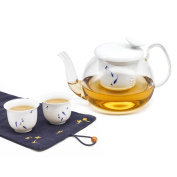 ZENS Tea Set, Glass Infuser Teapot for Loose Tea 60ml, Porcelain Tea Cups with Hand-painted Fish Pattern, Cotton Cloth Serving Mat with Embroidery