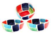 Handmade Square Ceramic Tapas / Serving Bowl x 3