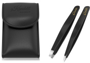Kanddit Professional Beauty Eyebrow Tweezers Set Slanted Tip + Point With Gift Box And Tip Protector