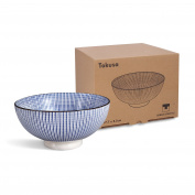 2 x Ramen Bowl Made of Porcelain With Blue/White Japanese Tokusa Design Pasta Set Tokusa Blue/White Shell