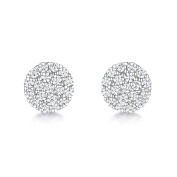 Just Jo Cubic Zirconia Circle Stud Earrings in Sterling Silver with Rhodium Plating