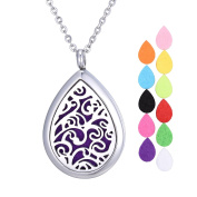 Aromatherapy Essential Oils Diffuser Necklace Pendant Locket with 60cm Chain 12 Refill Pads