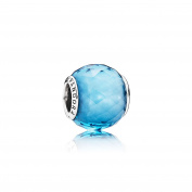 791722NBS Pandora Charm Bead Faceted Blue Sky Woman Silver Crystal Faceted