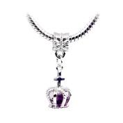 Bling Stars Lucky Charm Dangle Birthstone Crystal Princess Crown Charms Beads Fit Pandora Bracelets