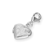 Sterling Silver Engraved Heart Locket Clip On Charm