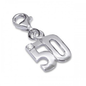 Sterling Silver Fifty 50th Birthday Charm with Lobster Clasp