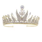 HerZii Romantic Hair Wedding Leaf Accessories Luxury Crystal Bridal CZ Crown Rhinestone Tiaras For Bride Pageant Crowns Head Jewellery Hair Ornament