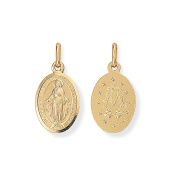 Jewelco London 9ct Gold Miraculous Madonna (Virgin Mary) Medallion Charm Pendant 9x19mm