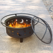Jaxpety Outdoor 80cm Steel Fire Pit Patio Garden Round Stove Fire Pit Brazier Metal