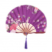 Women Floral Print Retro Style Tassel Pendant Hanger Decor Hand Fan Dark Purple