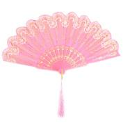 Beach Plastic Flower Pattern Folding Dancing Cooling Hand Fan Pink 24cm Length