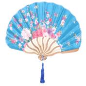 Floral Print Retro Style Tassel Pendant Hanger Decor Dancing Hand Fan Teal Blue