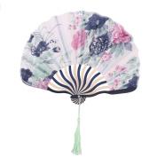 Floral Print Retro Style Tassel Pendant Hanger Decor Dancing Hand Fan Dark Blue