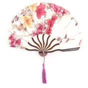 Floral Print Retro Style Tassel Pendant Hanger Decor Dancing Hand Fan Burgundy
