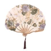 Lady Floral Print Retro Style Tassel Pendant Hanger Decor Dancing Hand Fan Beige